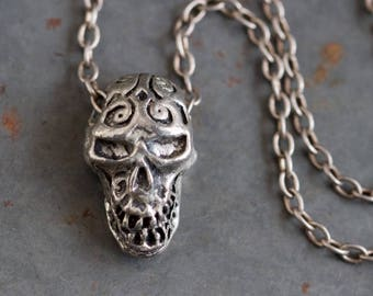 Smiling Skull Necklace - Scary Pendant on Chain - Rock Jewelry