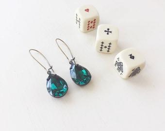 Vivienne Earrings in Emerald || Emerald Earrings, Green Earrings, Swarovski Crystal Earrings, Pear Shaped Earrings, Long Earrings