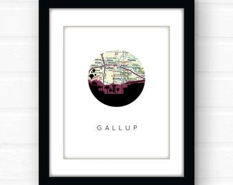 Gallup, New Mexico art print | New Mexico map art | southwestern decor | southwestern wall art | New Mexico wall art | city skyline art