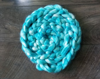"""2oz 100 % tussah silk roving hand dyed for spinning yarn making needle felting fiber arts supplies """"blue sky day"""" blue & white colorway"""
