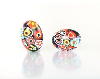 Millefiori Earrings, Oval Venetian glass Button Earrings, Italian 1960s jewelry