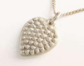 Sterling Steel Cut Puff Heart Charm Pendant Necklace