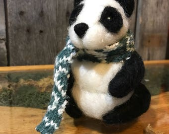 Needle Felted Panda with Knitted Scarf (Made to Order)