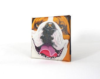 "English Bulldog Art Print on Canvas - Brown and Beige - English Bulldog Art - 5"" x 5"""