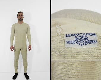 Vintage 1940s Union Suit Long Underwear White One Piece Wool Blend Long Johns - Medium