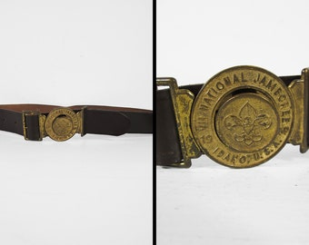 Vintage Boy Scout Jamboree Belt 1969 Brass Buckle Clasp Steerhide Leather Utility Belt