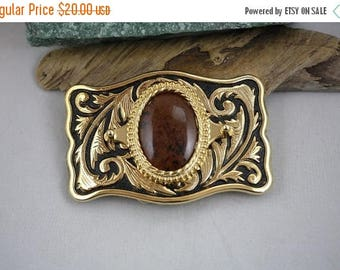 Spring Into Summer Sale- Mahogany Obsidian Gold Western Belt Buckle - Item 1842