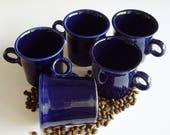 Vintage Fiestaware, Coffee Mugs, Fiesta Reissue, Lead Free, Cobalt Blue, Homer Laughlin, Made in USA, Set of 5, Navy Blue, Art Deco Style