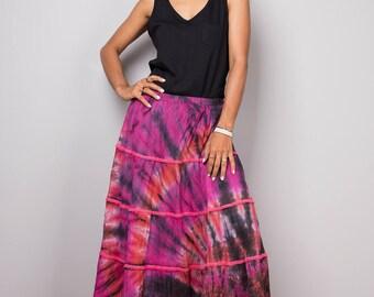 Tiered skirt, maxi skirt, tie dye skirt, boho skirt, pink purple skirt, summer skirt, festival skirt : Funky Collection