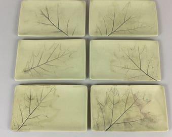 Set of 6 Appertizer plates - Green - Leaf Pattern