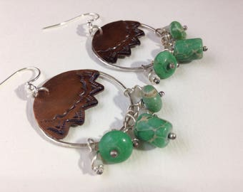 Handmade Jewelry, Southwestern, Boho, Green Variscite, Kingman Turquoise, Baroque Pearls, Freshwater Pearls, Mother of Pearl, Hoop Earrings
