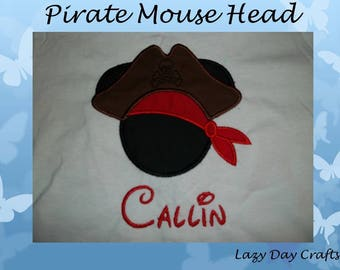 Pirate Mouse Head - Short Sleeve Appliqued Tshirt - Infant and Toddler Size Tshirt - 6 months to 5/6