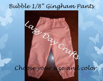 """Bubbled 1/8"""" Lightweight Gingham Check Pants - Toddler  Sizes 12 months to 5T"""