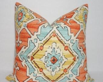 FALL is COMING SALE Orange Blue Aztec Print Pillow Cover Decorative Pillow Cover Southwestern Design 18x18