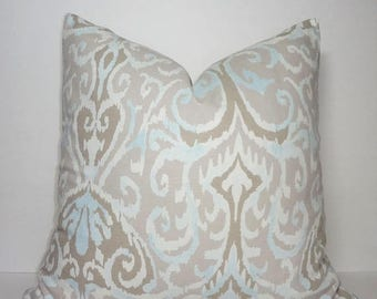 SPRING FORWARD SALE Taupe Beige Grey Powder Blue Ikat Design Home Decor by HomeLiving Pillow Cover Size 18x18