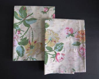 Pair King Floral Pillowcases Wondercale by Springmaid - Pink Yellow Roses on Tan - Country Cottage Shabby Chic Bedding - Dorm Room Bedding