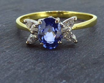 Sapphire and Diamond Engagement Ring, 1980's Retro Style, 18ct Yellow gold