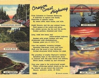 Oregon Coast Highway, Oregon - Vintage Postcard - Postcard - Unused (LL)