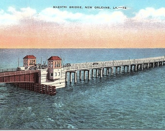 New Orleans, Louisiana, Maestri Bridge - Vintage Postcard - Postcard - Unused (F1)