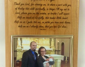 """Godparents Prayer on 8X10"""" red alder Plaque with 4X6"""" picture frame."""