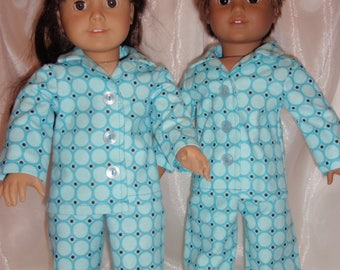 """18"""" Doll Teal and Blue Circle Print Soft Flannel Pajamas, 18"""" Doll Clothes, Girl Doll Clothes, AG Doll Clothes, Boy Doll Clothes"""