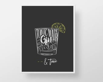 Cocktail Bar Print - Gin and Tonic bartender print wall decor art modern kitchen retro liquor cocktail recipe mixed drink quote sign poster
