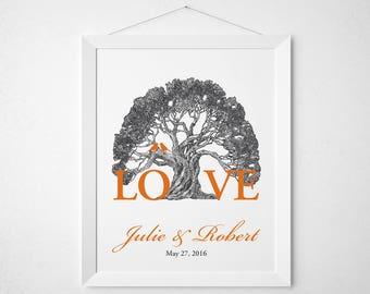Custom tree anniversary print love quote - wall decor art - wedding keepsake couple bride groom personalized name names date birds vintage