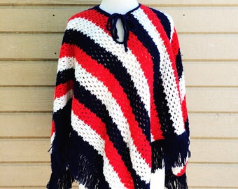 Vintage Americana Poncho // Red White and Blue Fringe Poncho // USA 4th of July Top // Independence Day Knit Shawl