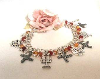 Pagan Jewellery Brigid Fire Goddess Brigid's Cross Pagan Bracelet