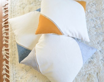 Pillow Cover/Ivory/Grey/Accent Brass Zipper/NEW COLLECTION/Modern/Minimalistic/Stylish Pillow//Zigazag Studio Design