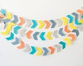 Blue & Orange Chevron Garland, Rainbow Chevron Bunting, Paper Chevrons, Chevron Garland, Photo Prop Paper Garland, Paper Decoration