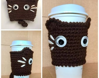 Crochet Black kitty CAT Cup Cozy, CAT Coffee Cup cozy/warmer/cup holder