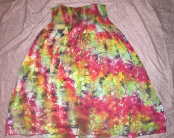 2300 Womens Large strapless Rayon Skirt/Dress with smocking