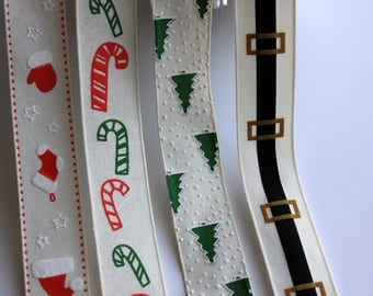 "1"" Christmas Ribbon - Christmas Stockings, Candy Canes, Trees and Santa's Belt - 2 yards"