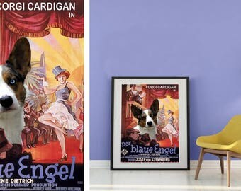 Welsh Corgi Vintage Poster Canvas Print  - The Blue Angel NEW Collection by Nobility Dogs