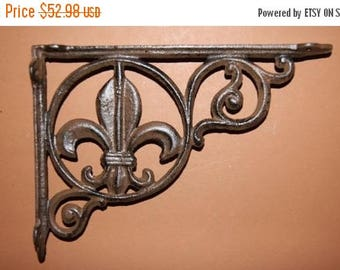 12% OFF 6, Shelf brackets, Fleur De Lis, Cast Iron Shelf brackets, frech, decorative shelf brackets, christmas gift, husband gift, B-3