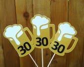 Beer Mug Birthday Cupcake Toppers, Beer Mug Toothpick, 21st Birthday, 30th Birthday, 40th Birthday, Birthday for Men, Your Choice Age