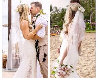 Fingertip Ivory veil wedding veil light wedding veil short wedding veil