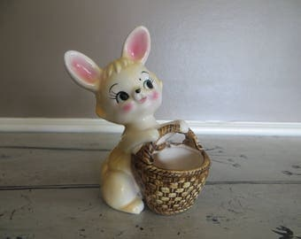 Darling Bunny with Basket Planter Rabbit Planter Bunny Vase Kitschy Bunny Rabbit