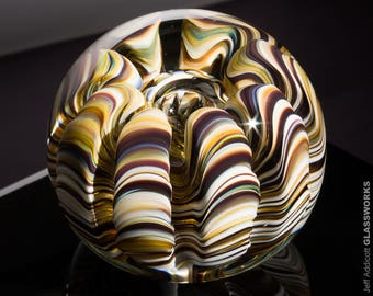 Art Glass Paperweight - Earthy Colors with Organic Sea Life Shape and Bubble