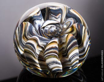 Art Glass Paperweight - Earthy Colors with Organic Sea Life Shape and Bubbles - Large