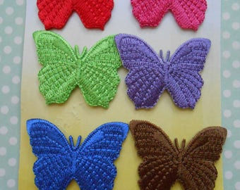 Iron-on Butterflies Embroidered Set of 6
