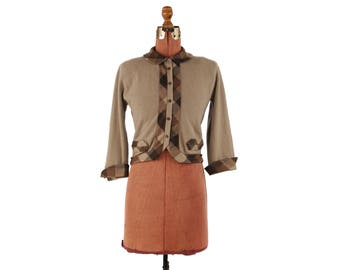 Vintage 1950's Dalton 100% Cashmere Tan Taupe + Plaid Preppy Novelty Pin Up Cardigan Sweater S