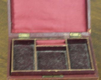antique red leather jewlery box