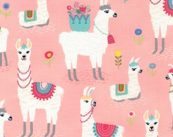 Pink Alpaca #C5690-PNK from Timeless Treasures, Alpaca Adventures by Timeless Treasures Collection, 100% Cotton, 44/45in, 1-yard cut