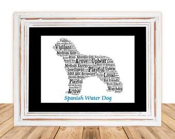 Spanish Water Dog, Spanish Water Dog art, Dog Gift, Custom Dog Art,Personalize Spanish Water Dog,Dog Lover Gift, Pet Memorial,Pet Lover Gift