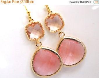 SALE Peach Earrings, Coral Earrings, Glass Earrings, Champagne, Gold, Wedding Jewelry, Bridesmaid Gifts, Bridesmaid Earrings, Bridal Jewelry