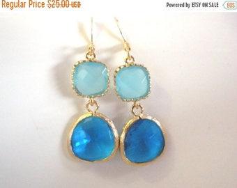 SALE Blue Earrings, Glass Earrings, Gold Sapphire Earrings, Aquamarine, Light Blue, Bridesmaid Earrings, Bridesmaids Jewelry, Bridesmaid Gif