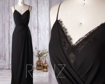 2017 Black Bridesmaid Dress, V Neck Lace Wedding Dress, Spaghetti Straps Prom Dress, Sexy Party Dress, Open Back Formal Dress (L136)