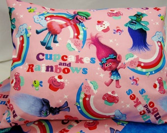 Trolls Nap Mat Cover Sets - Nap Mat Covers with Matching Pillow Case - Envelope Back Pillow Case - Cupcakes & Rainbows - Girls Nap Mat Cover